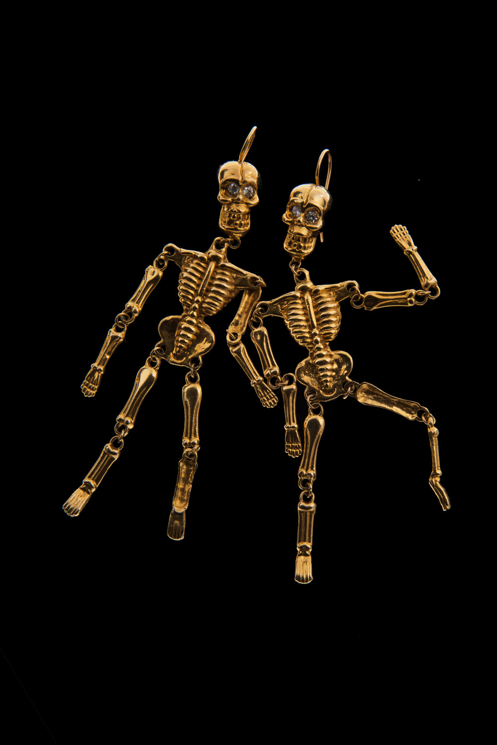 14k Gold Skeleton Earrings With Diamond Ruby Googly Or