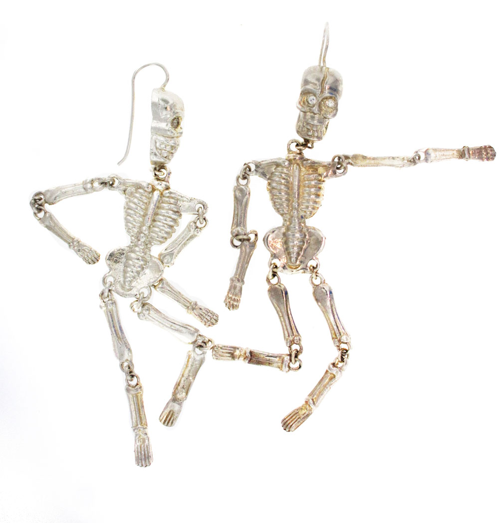 silver skeleton earrings with ruby or emerald