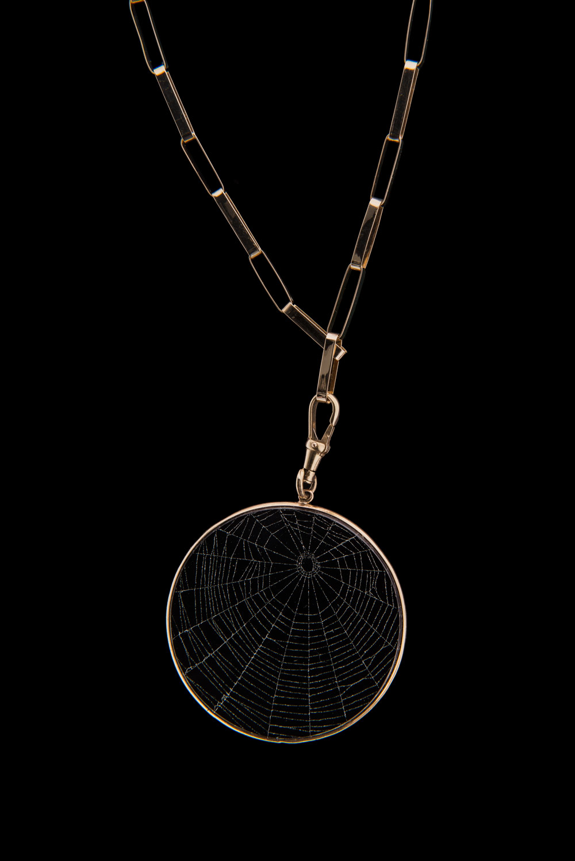 14k Gold Handmade Link Chain Blue Morpho Jewelry