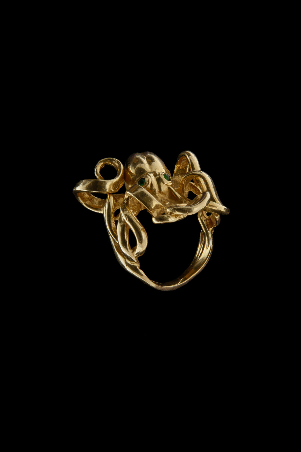 14k Gold Octopus Ring With Emerald Ruby White Or Black