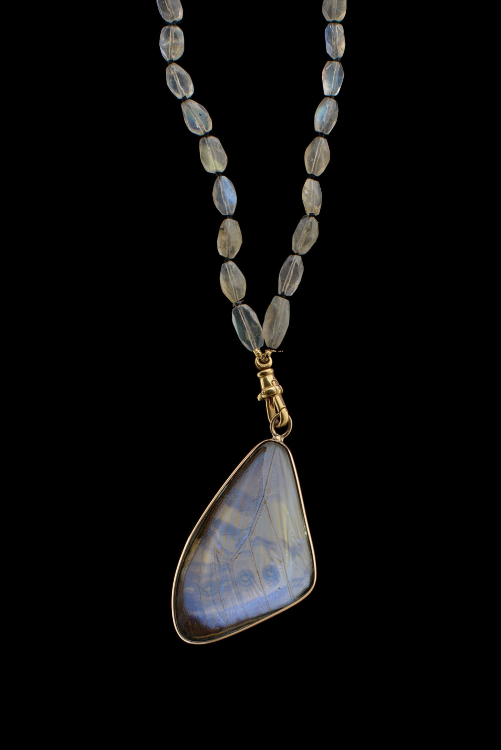 One Of A Kind Labradorite Necklace With Dog Clasp Blue