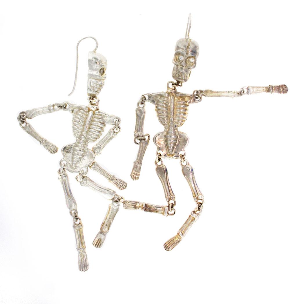 Silver Skeleton Earrin...