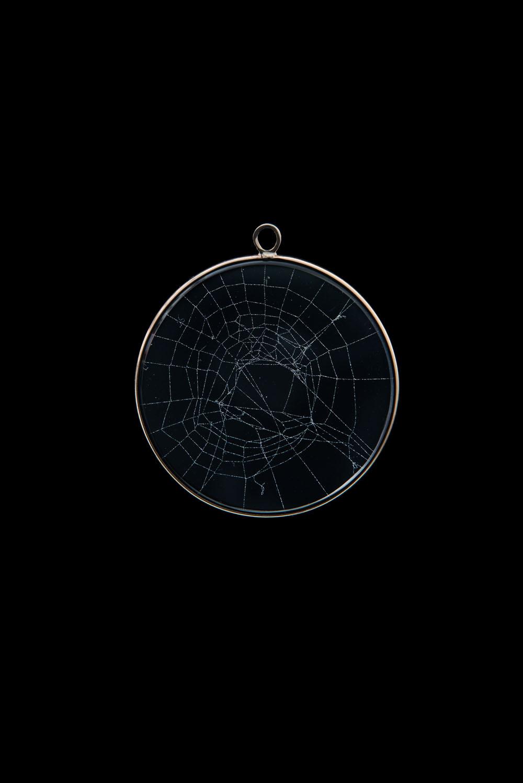 Large Spiderweb Pendant Blue Morpho Jewelry